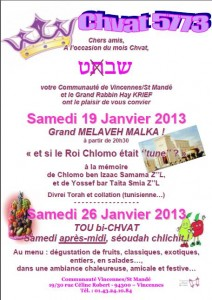 Chvat 5773 vos Chabbatot a Vincennes