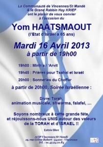 yom Haatsmaout 2013 ACIP Vincennes 20130416